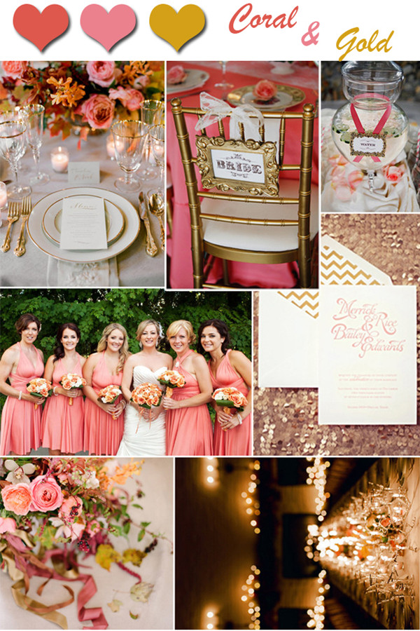 Elegant Coral And Gold Wedding Colors For Fall Weddings 2013 2014