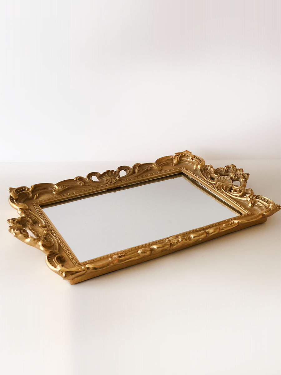 Deep Gold Mirror Tray Platter Outlandish Events