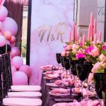 Luxurious Black, Blush and Salmon Engagement Party