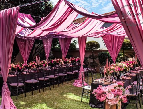 Luxurious Black Blush & Salmon Engagement Party
